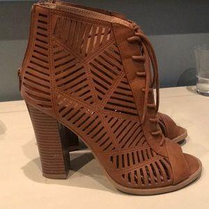 Brown laser cut open toe booties